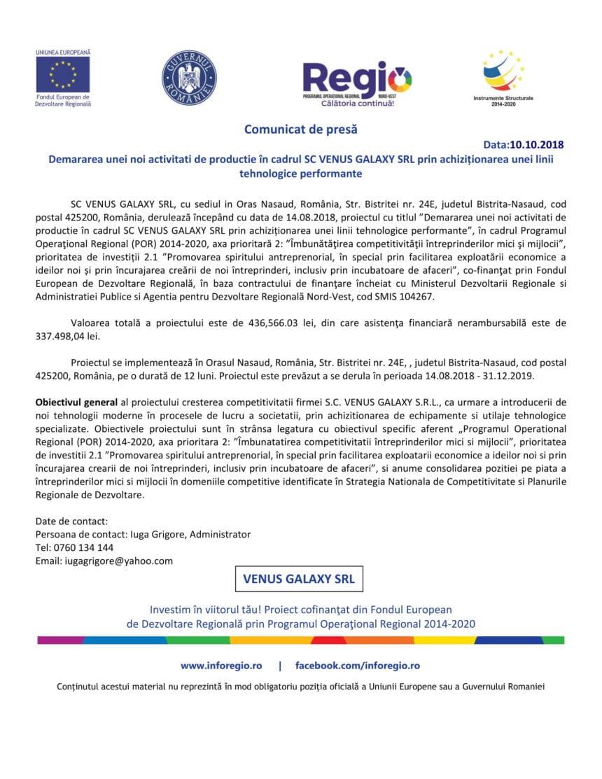 COMUNICAT: Demararea unei noi activități de producție în cadrul SC VENUS GALAXY SRL prin achiziționarea unei linii tehnologice performante