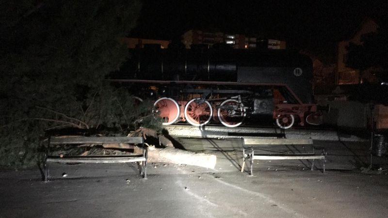FOTO: Noaptea, ca hoții… Au distrus copacii, au trântit locomotiva în fața Gării, au lăsat gunoaiele de izbeliște…