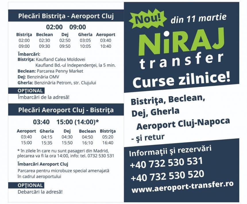 NOU! De astăzi, TRANSFER AEROPORT Bistrița-Cluj și retur, rapid, cu Niraj Transfer