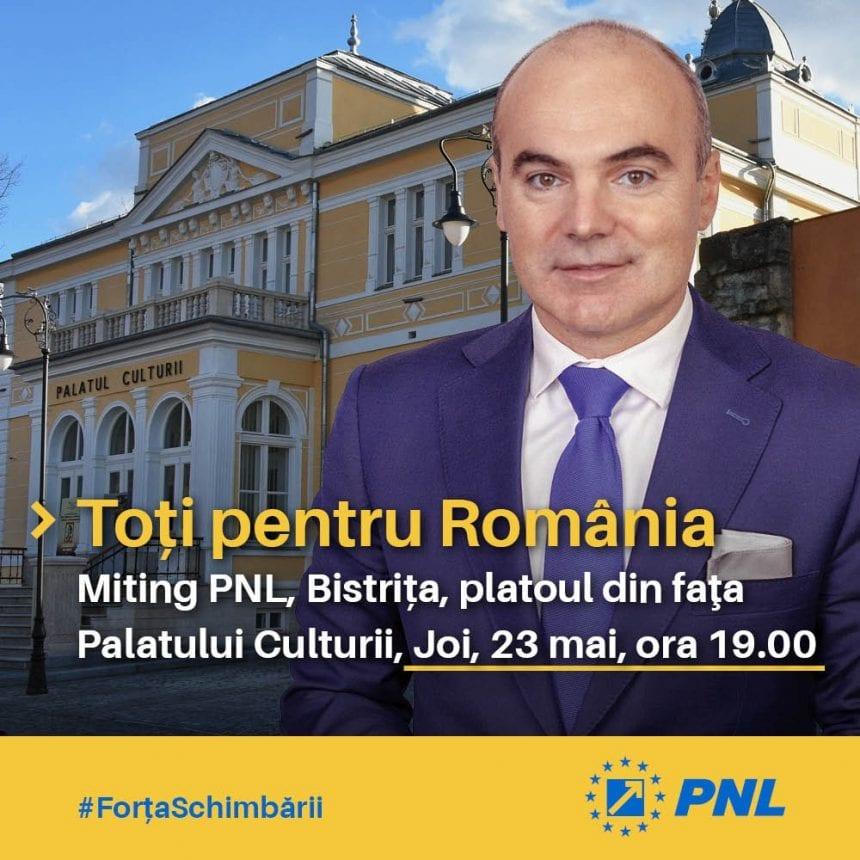 Miting electoral:  Rareș Bogdan (PNL) vine mâine la Bistrița!
