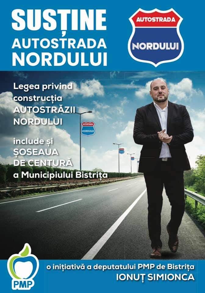 Deputatul PMP Ionuț Simionca lansează, la corturile amplasate în Bistrița, o campanie de strângere de semnături pentru Autostrada Nordului