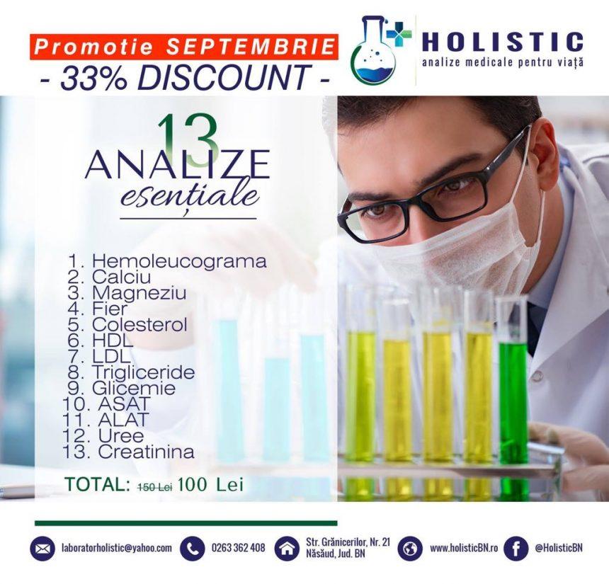 Analize disponibile în laboratoarele Holistic, pentru o sănătate de nota 10!