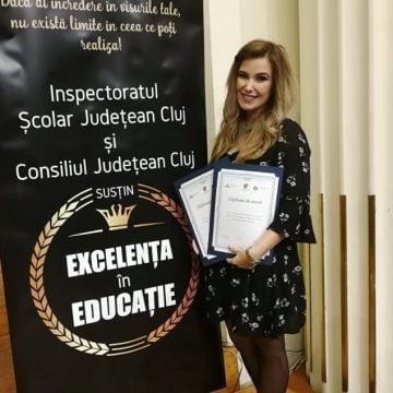 Singura profesoară de 10 din judeţ, ovaţionată în Cluj, la Gala Excelenţei în Educaţie