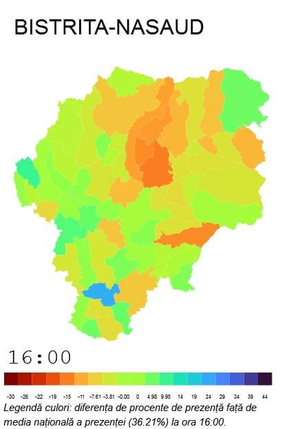 Harta Interactivă Prezența La Vot La Ora 16 00 Bistriteanul