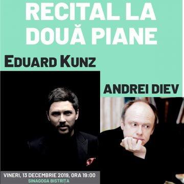 În premieră, la Bistriţa: Recital extraordinar la două piane, susținut de Eduard Kunz și profesorul său, Andrei Diev