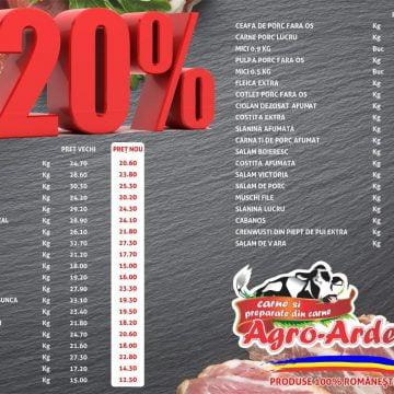 De astăzi, prețuri mai mici cu 20 la sută la carne, în toate magazinele Agro Ardeal