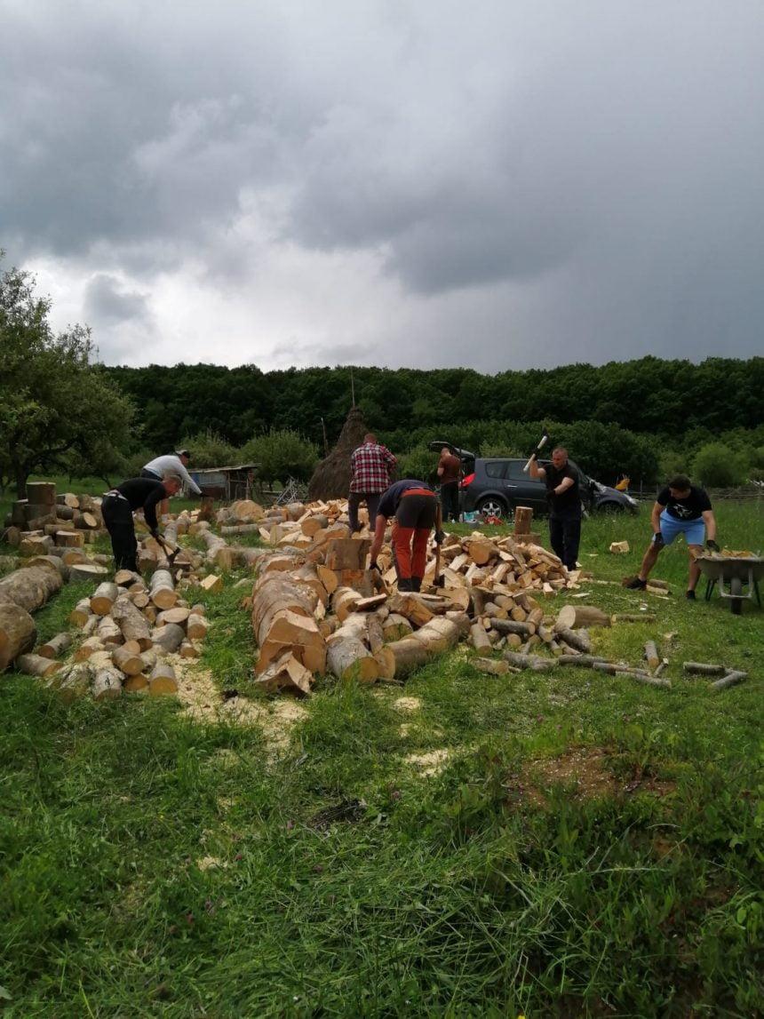 Jandarmi cu suflet mare: În timpul liber au tăiat lemne pentru doi bunici