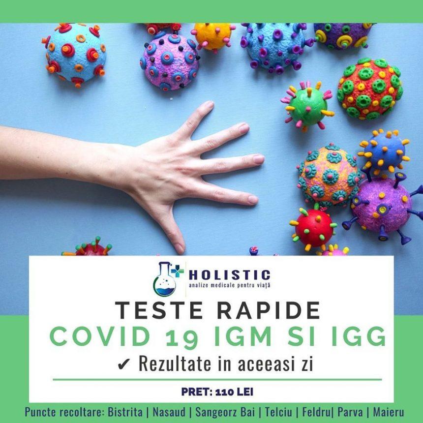 Teste rapide COVID-19, în laboratoarele Holistic