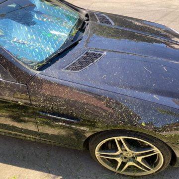 FOTO: Dorel, mai cu grijă! I-au făcut mașina praf, după ce au tuns iarba!