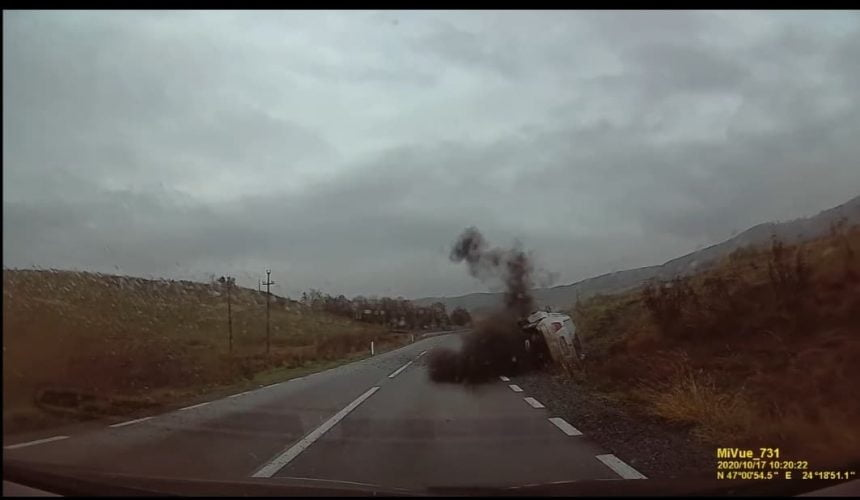 FOTO/VIDEO: VEZI cum a avut loc accidentul de ieri de la Lechința!