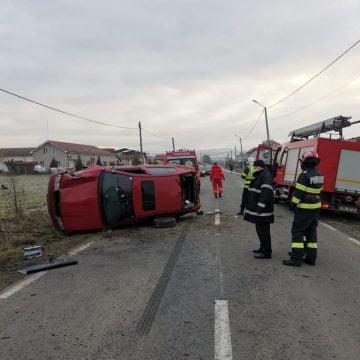 FOTO: GRAV accident în Orheiu Bistriței cu o victimă inconștientă