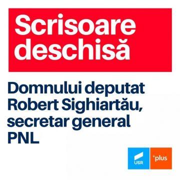 USR PLUS Bistrița-Năsăud: Scrisoare deschisă domnului deputat Robert Sighiartău, secretar general al PNL