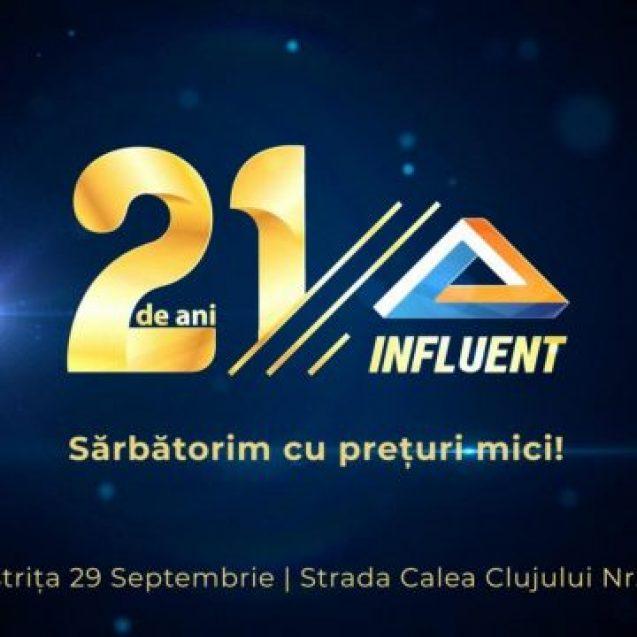 Promoții, surprize și cadouri pentru clienții INFLUENT! Sărbătoresc 21 de ani de activitate în Bistrița